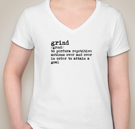 Grind Women's V-Neck (WHITE)(pre-shrunk cotton)