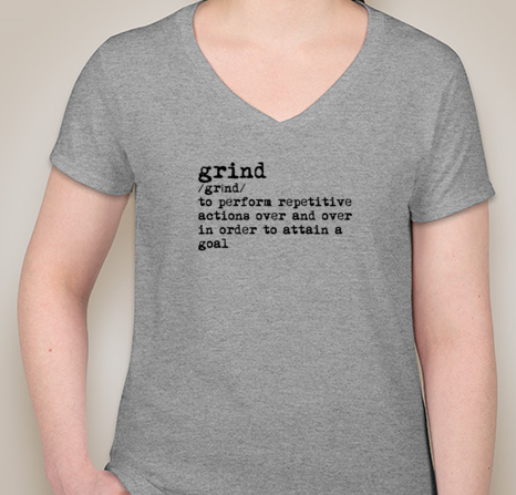 Grind Women's V-Neck (GRAY)(pre-shrunk cotton)