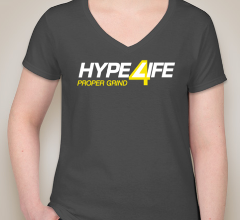 Hype4Life Women's V-Neck (DARK GRAY)(pre-shrunk cotton)